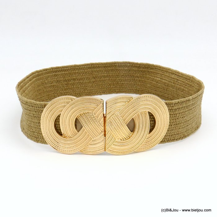belt 0619036-02  large elastic polypropylene braided raffia metal XXL buckle 45x680mm
