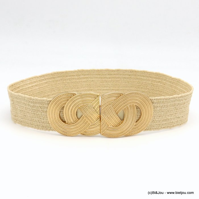 belt 0619036-06 large elastic polypropylene braided raffia metal XXL buckle 45x680mm