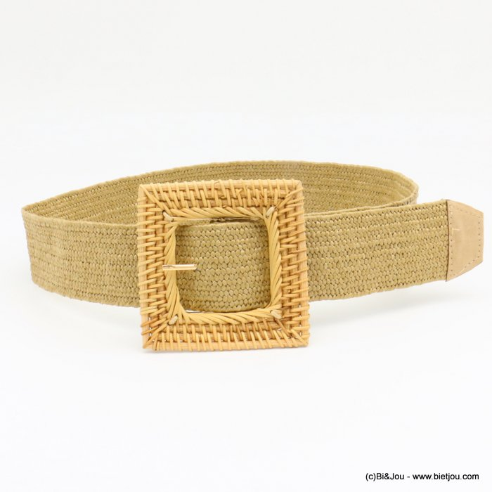 belt 0619037-02 large elastic polypropylene braided raffia wicker buckle 45x900mm
