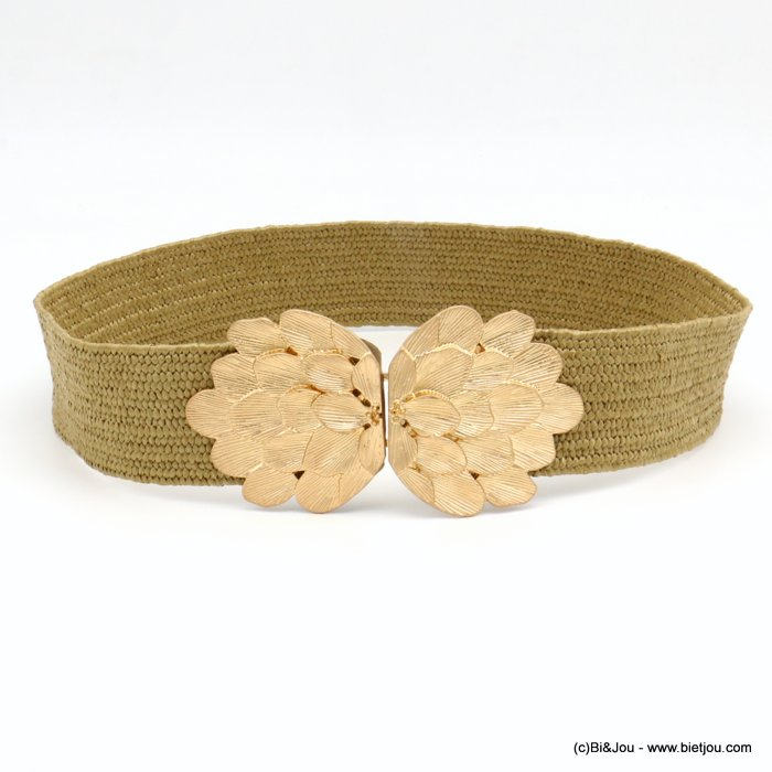 belt 0619039-02 large elastic polypropylene braided raffia flower metal buckle 45x700mm
