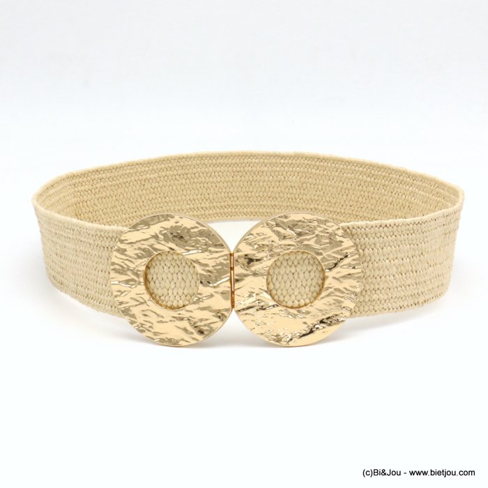 belt 0619040-06 large elastic polypropylene braided raffia flat ring metal buckle 45x700mm