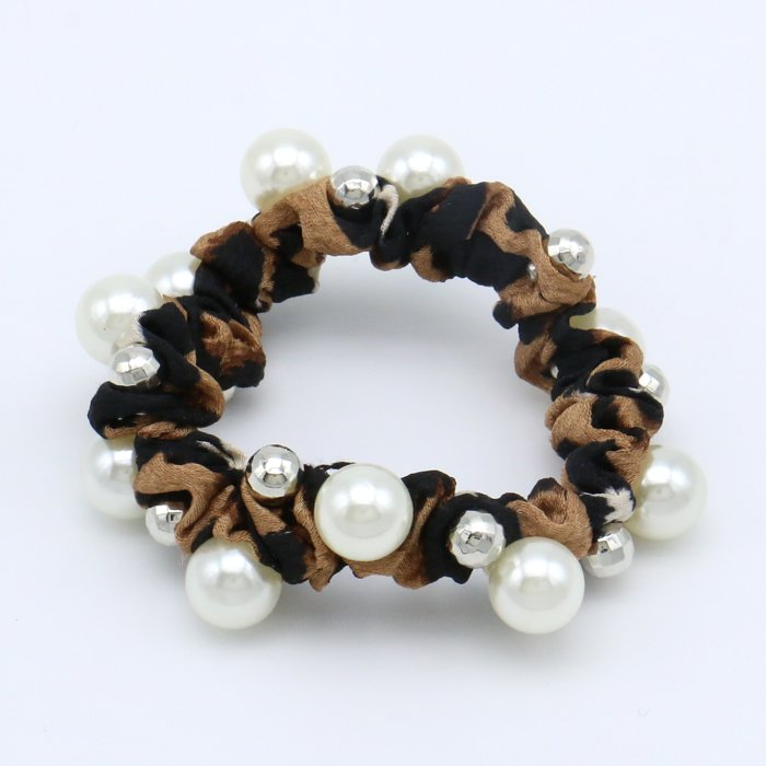 scrunchie 0619510-02 elastic hair leopard fabric beads metallic resin faceted balls diameter: 45mm