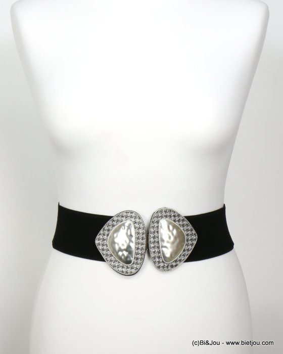 belt 0619536-13 elastic houndstooth glitter metal-synthetic