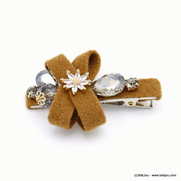hair clip 0619555-02 flower metal-strass-felt 62x43mm