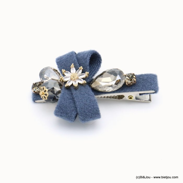 hair clip 0619555-09 flower metal-strass-felt 62x43mm