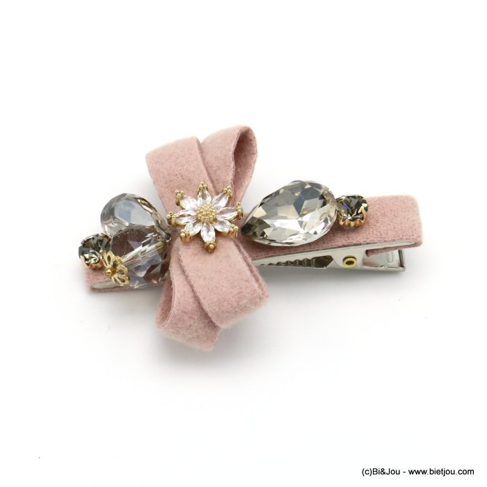 hair clip 0619555-18 flower metal-strass-felt 62x43mm