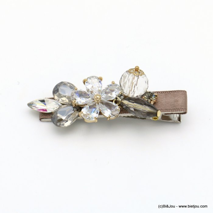 hair clip 0619556-02 flower metal-strass-polyester 65x20mm
