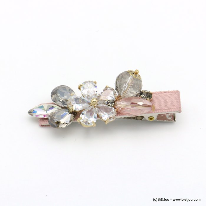 hair clip 0619556-18 flower metal-strass-polyester 65x20mm
