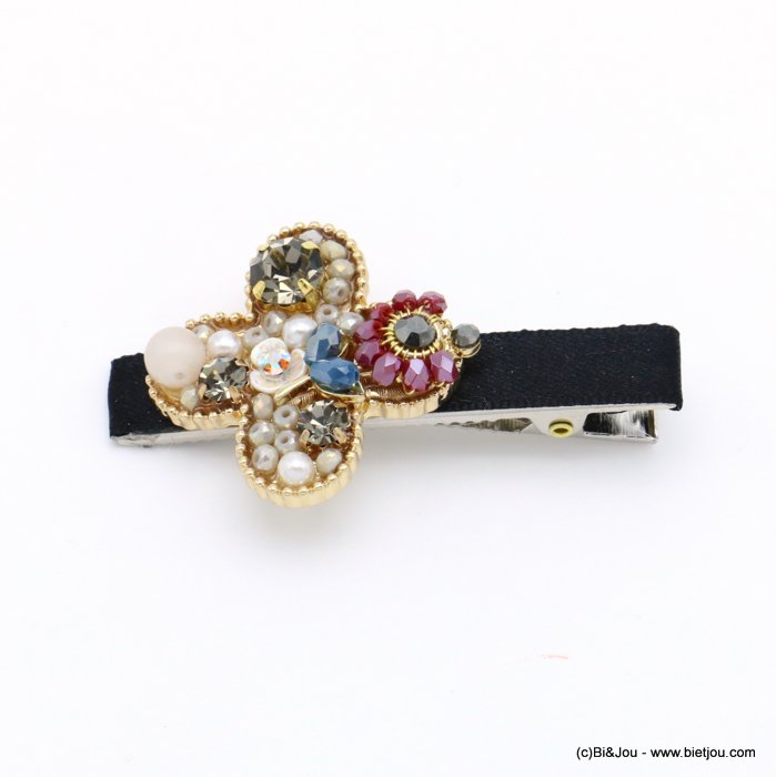 hair clip 0619557-01 flower metal-strass-crystal-polyester-reconstituted stone-acrylic beads 33x60mm