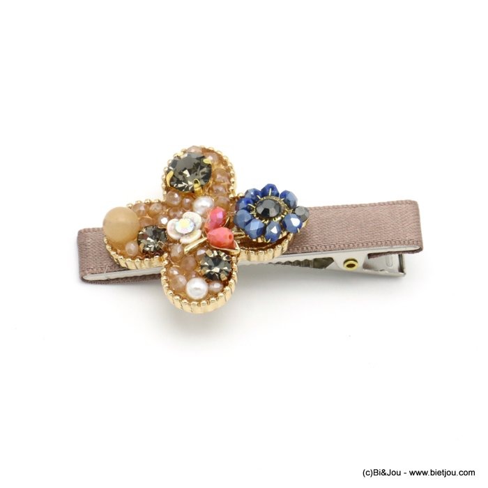 hair clip 0619557-02 flower metal-strass-crystal-polyester-reconstituted stone-acrylic beads 33x60mm