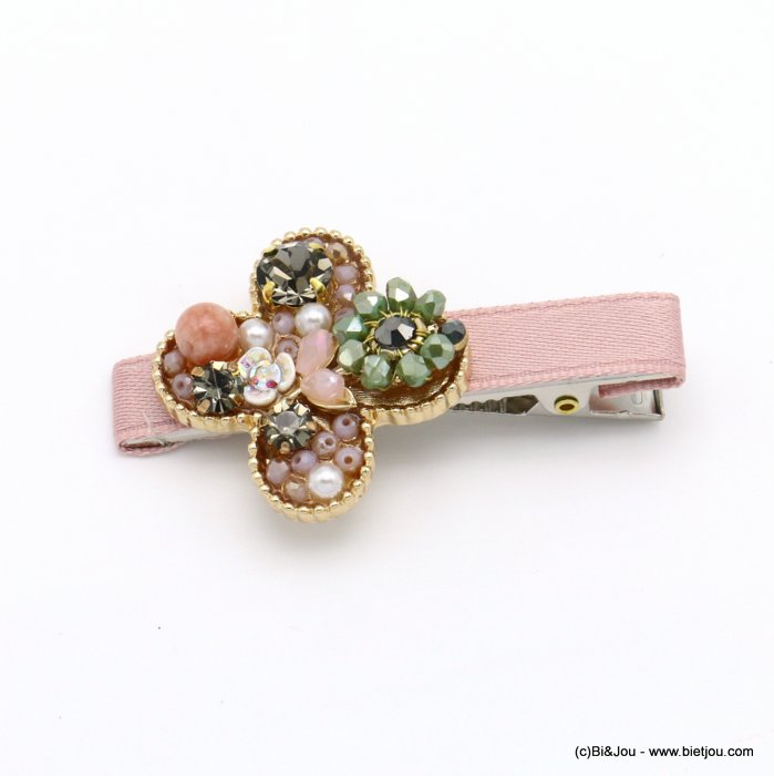 hair clip 0619557-18 flower metal-strass-crystal-polyester-reconstituted stone-acrylic beads 33x60mm