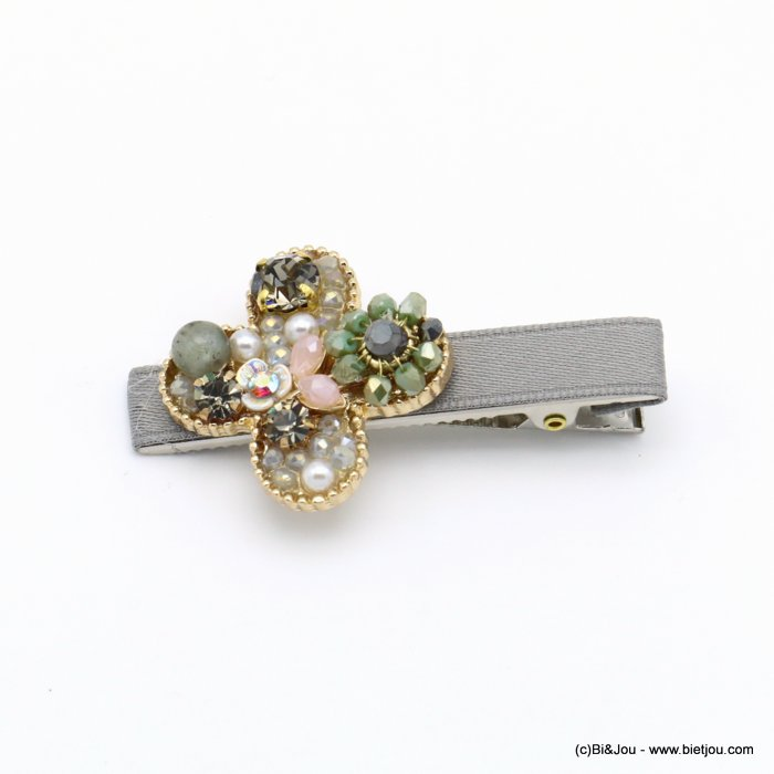 hair clip 0619557-25 flower metal-strass-crystal-polyester-reconstituted stone-acrylic beads 33x60mm