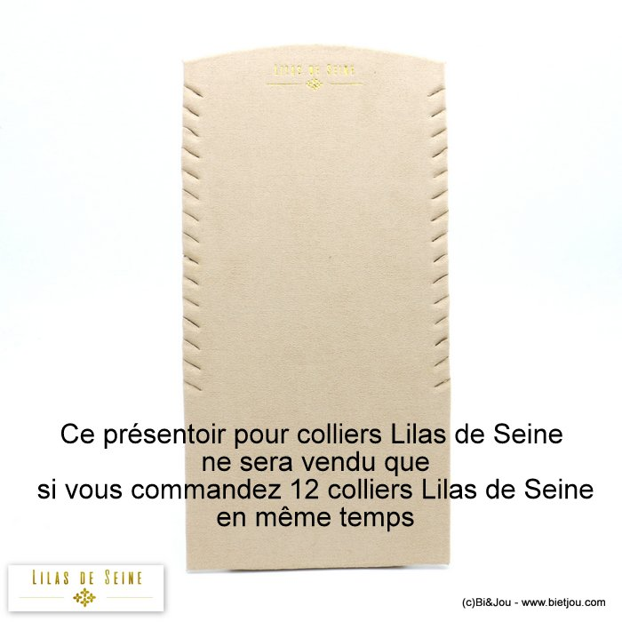display 0619579-06 nubuck feeling fabric for 15 Lilas de Seine necklaces 15x30x8cm
