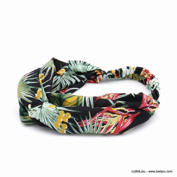 hair band 0620027-01 leaf flower polyester elastic 80mm
