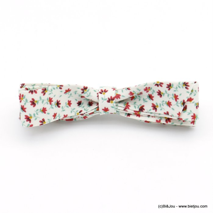 hair barrette 0620033-19 bowknot Liberty print flower metal-cotton 100x20mm