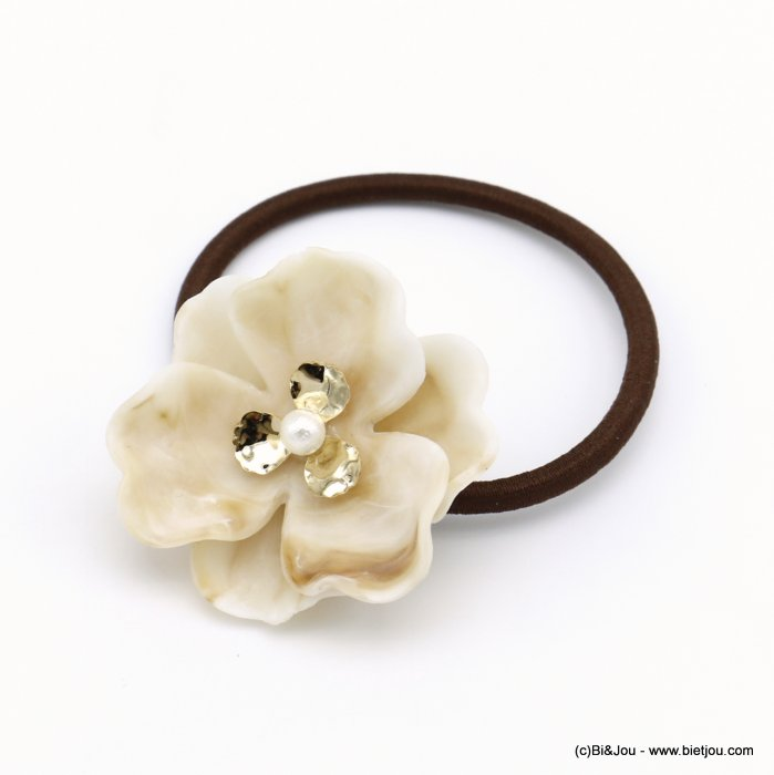 scrunchie 0620035-06 flower acrylic pearl elastic hair résin-metal-polyester