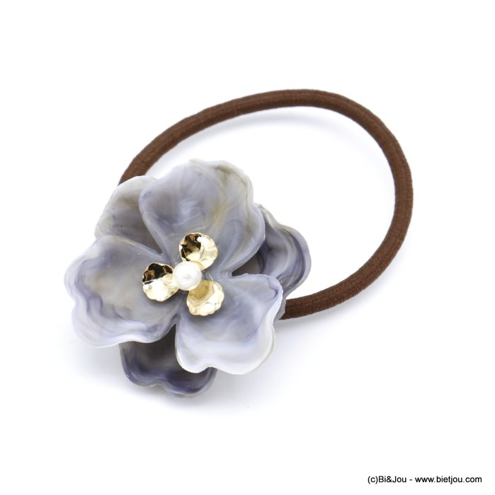 scrunchie 0620035-25 flower acrylic pearl elastic hair résin-metal-polyester