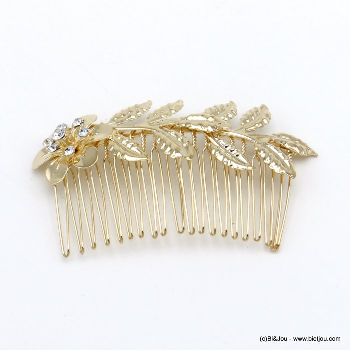 hair slide 0620041-06 flower leaf metal-strass 86x50mm