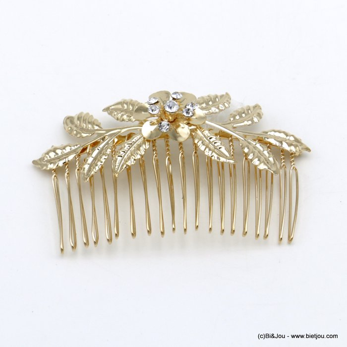 hair slide 0620043-06 flower leaf metal-strass 83x51mm