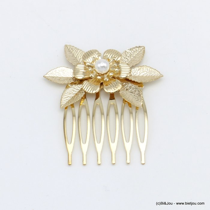 hair slide 0620045-06 flower leaf metal-acrylic beads 46x53mm