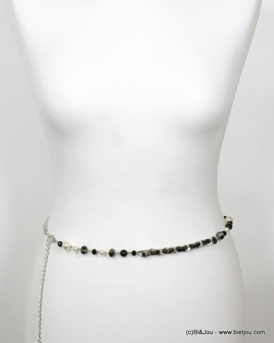 belt 0620502-01 fashion metal chain crystal imitation pearl tweed 60+30cm woman