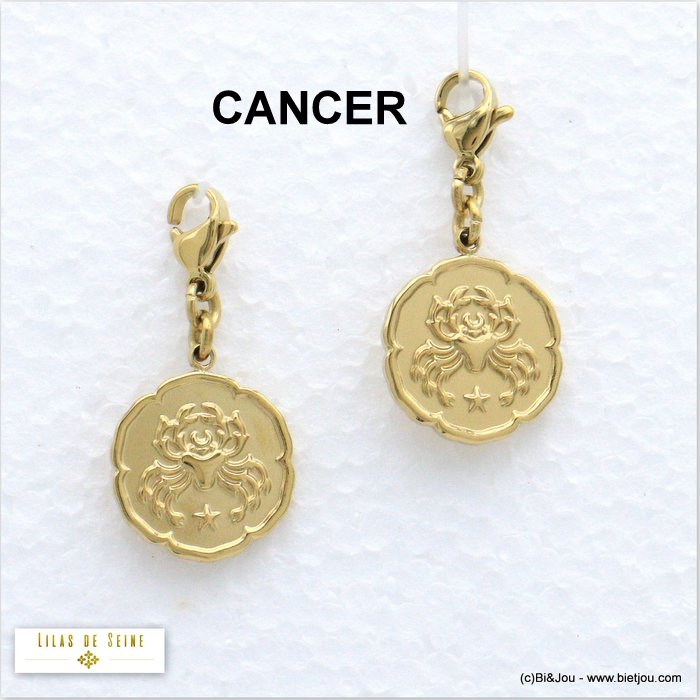 charm 0620554-14 2pcs astrology zodiac sign CANCER steel woman 15x30mm