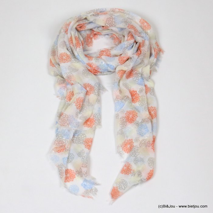 scarf 0718031-36 flower print polyester designed in France 180x90cm