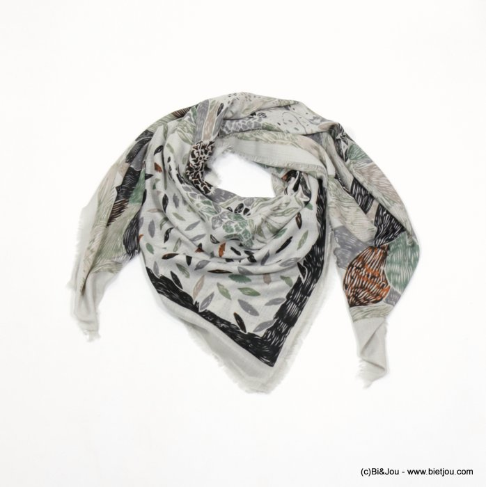 foulard 0718508-07 carré creation française 135x135cm 100%viscose