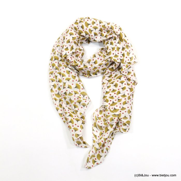 scarf 0719019-14 leaf print 100%cotton 180x110cm