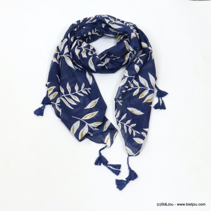 scarf 0719027-09 tassel leaf 100%cotton 180x100cm