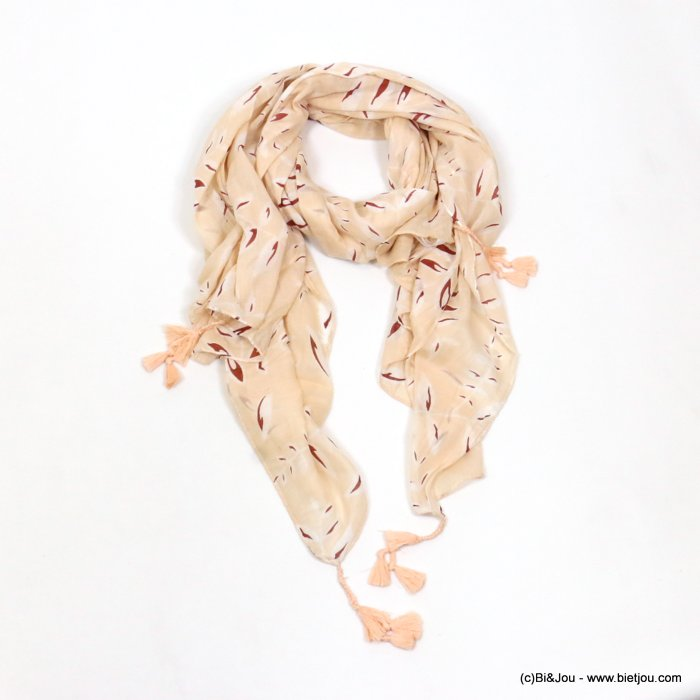 scarf 0719027-33 tassel leaf 100%cotton 180x100cm