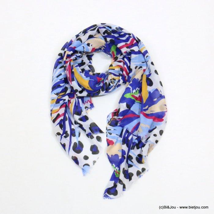 foulard 0719035-08 imprimé fleur léopard 180x90cm 100%viscose