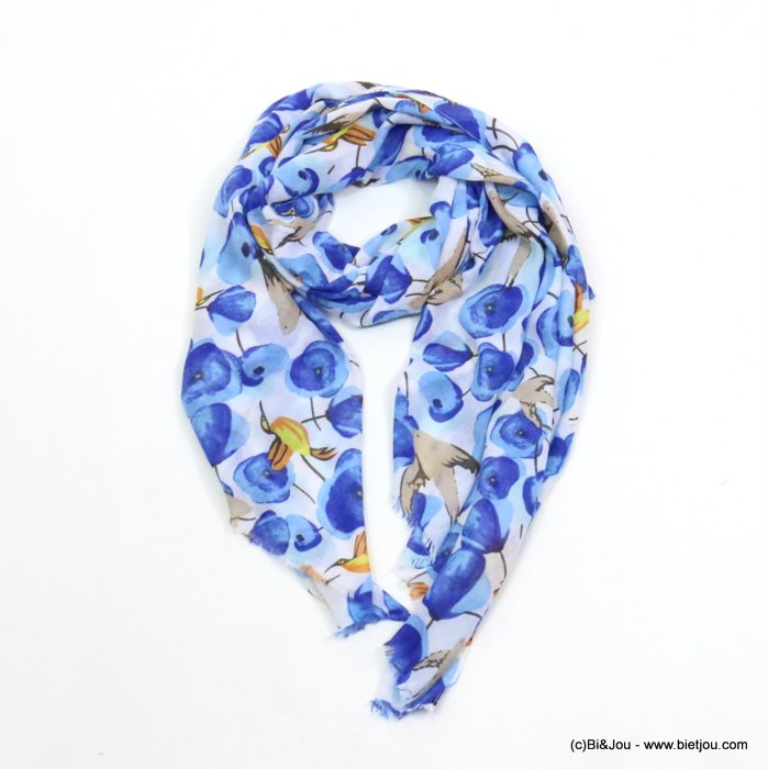 scarf 0719039-08 flower humming-bird swallow print 180x90cm 100%viscose