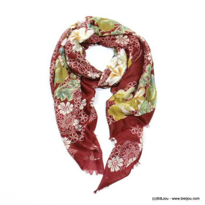 scarf 0719508-10 flower 80%viscose 20%cotton 180x90cm