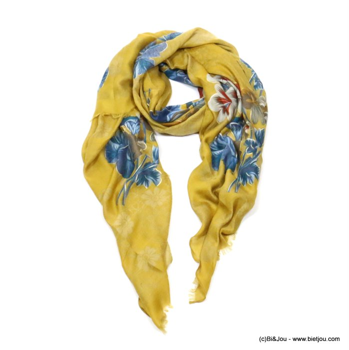 scarf 0719508-14 flower 80%viscose 20%cotton 180x90cm