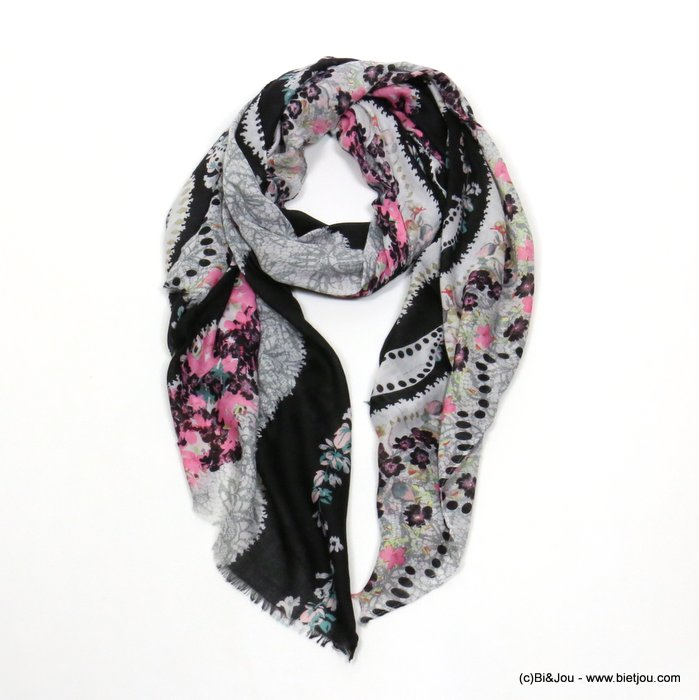 scarf 0719509-01 flower 80%viscose 20%cotton 180x90cm