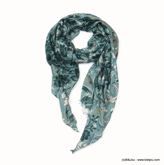scarf 0719512-07 flower 80%viscose 20%cotton 180x90cm