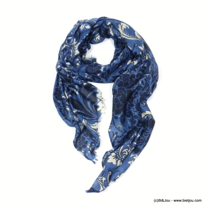 scarf 0719512-09 flower 80%viscose 20%cotton 180x90cm