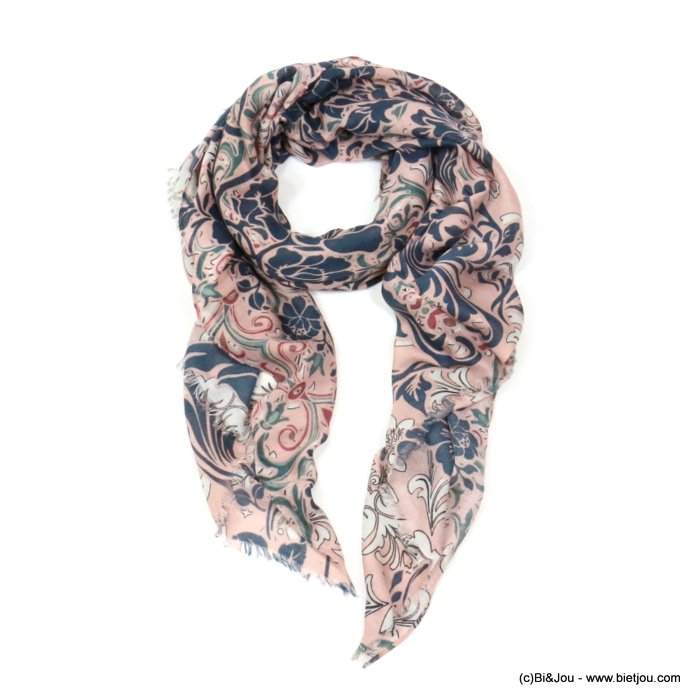 scarf 0719512-18 flower 80%viscose 20%cotton 180x90cm