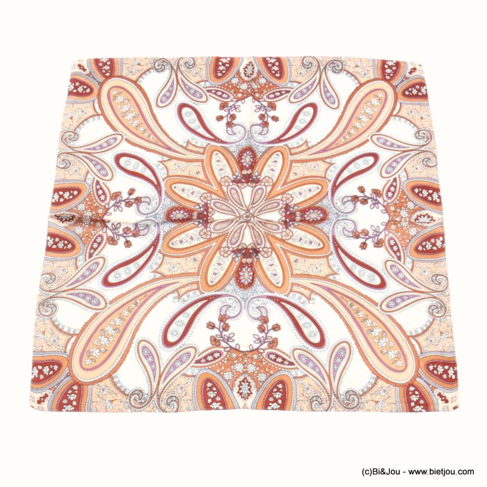 scarf 0719515-11 flower 100%polyester silk feeling 70x70cm