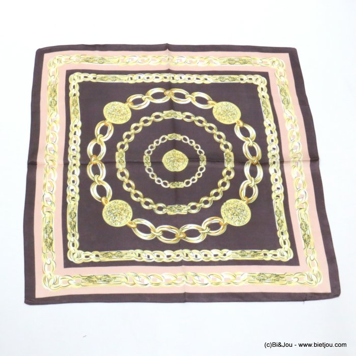 scarf 0719519-02 chains silk feeling 100%polyester 70x70cm
