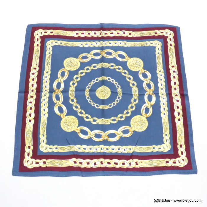 scarf 0719519-08 chains silk feeling 100%polyester 70x70cm