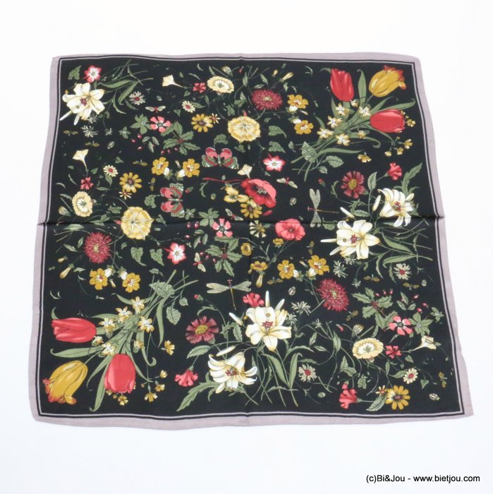 scarf 0719521-01 flower 100%polyester silk feeling 70x70cm