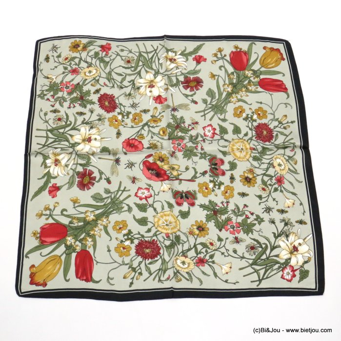 scarf 0719521-07 flower 100%polyester silk feeling 70x70cm
