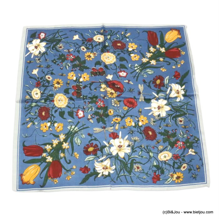 scarf 0719521-08 flower 100%polyester silk feeling 70x70cm
