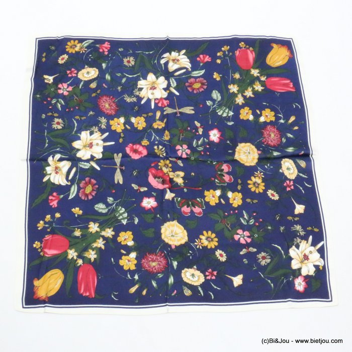 scarf 0719521-09 flower 100%polyester silk feeling 70x70cm