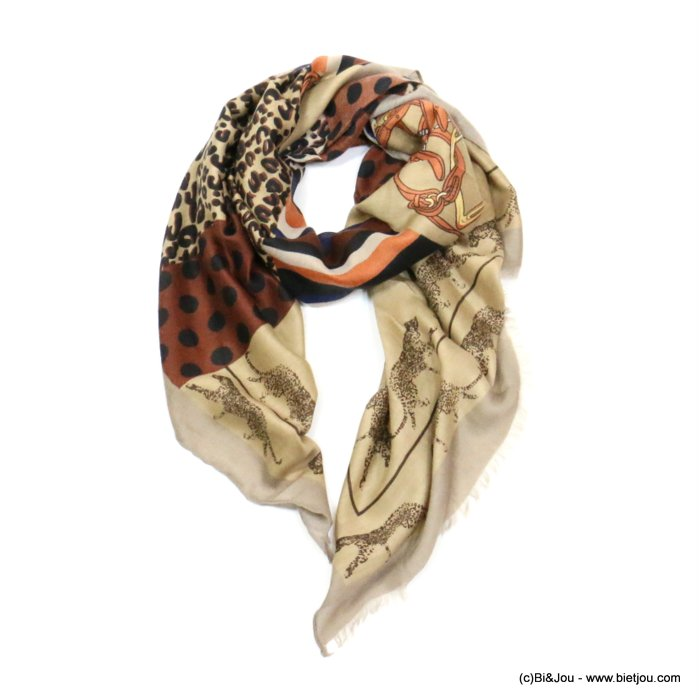 scarf 0719522-06 designed in France leopard dots print 180x90cm 100%viscose