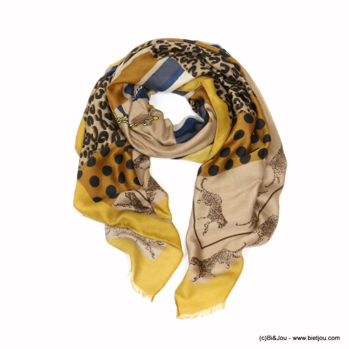 scarf 0719522-14 designed in France leopard dots print 180x90cm 100%viscose