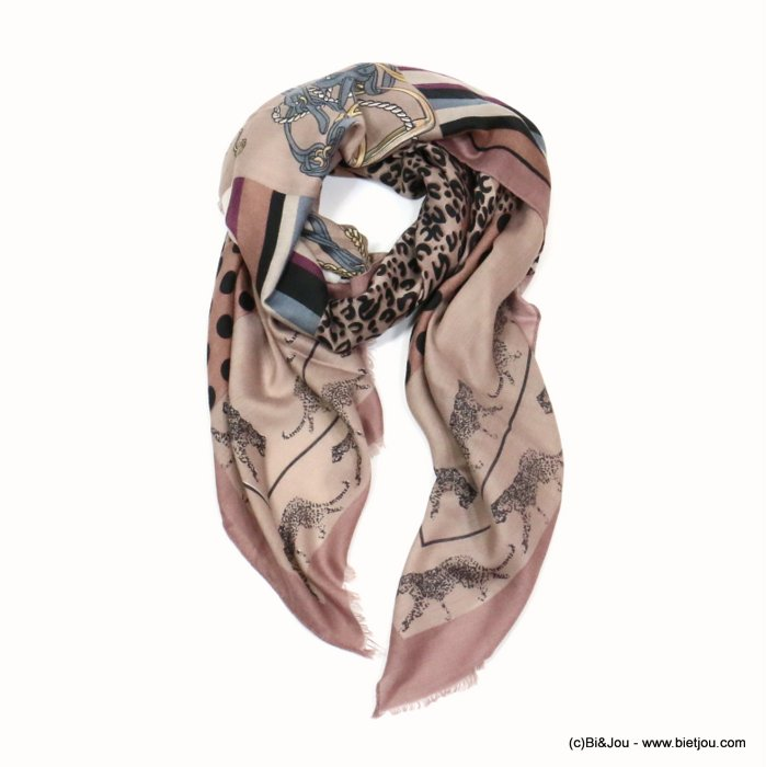 scarf 0719522-18 designed in France leopard dots print 180x90cm 100%viscose