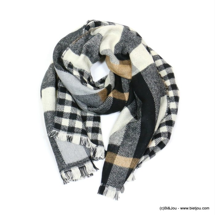 scarf 0719545-01 checked 70%acrylic 30%wool 200x65cm